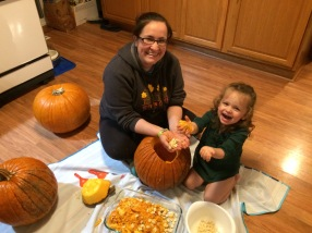 Pumpkin gutting...