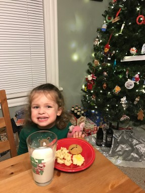 Before bed on Christmas Eve. She gave Santa cookies, milk, and tortellini. Don't ask, because I don't get it either.